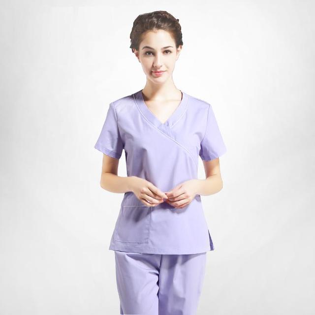 6effe00891a 2017 New Arrivals Operation Room Short Sleeve Scrub Sets(Top+Pants) for  Women Light Purple Nurse Uniform Cheap V Neck Work Wear