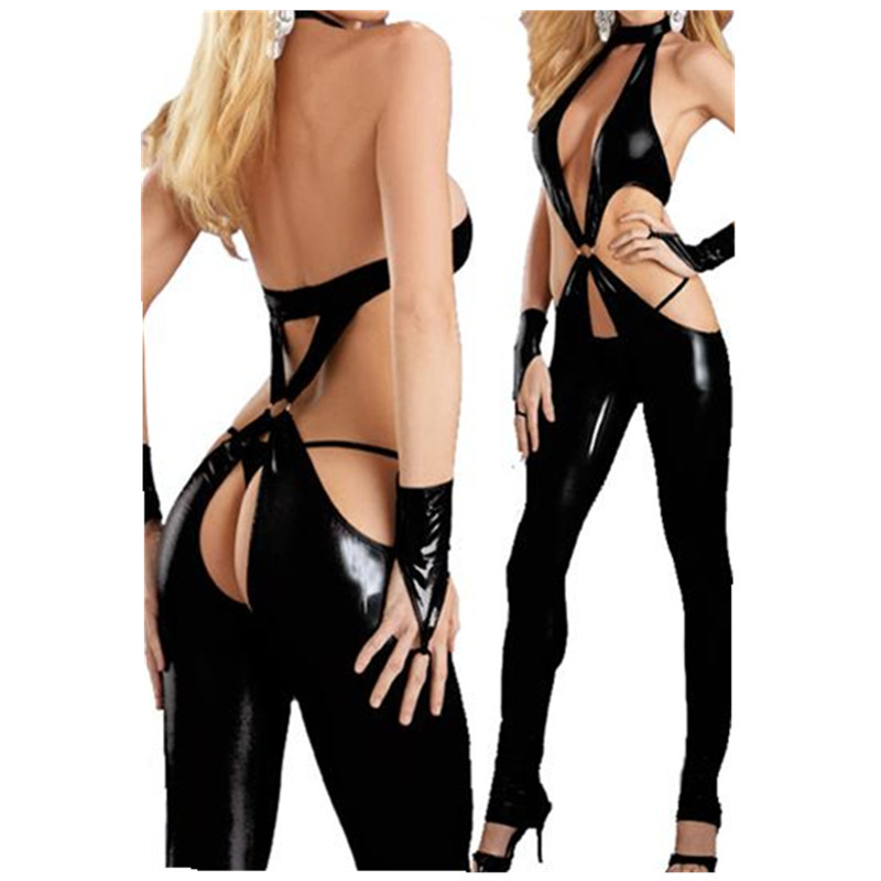 Sexy Lingerie Latex Women Bodysuit Black Catsuit Open Crotch Costumes Lingerie Sexy Hot Erotic Open Hips Plus Size Clubwear 2017