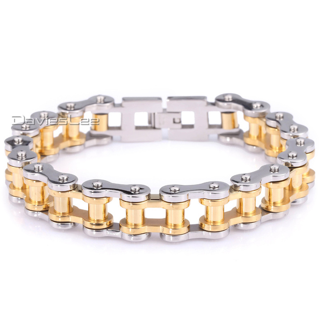 12.5/15mm 316L Stainless Steel Bracelet Gold Silver Tone Boys Mens Chain Heavy Biker Motorcycle Link Jewelry LHBM41