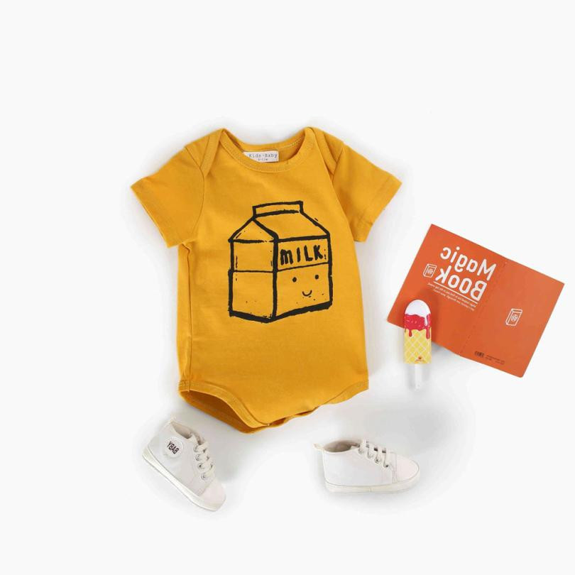 Cute Baby Clothes Newborn Boys Girls Baby Romper Milk Box Print Letter Yellow  Jumpsuit Clothes Outfit Sunsuit Soft Bebek Giyim