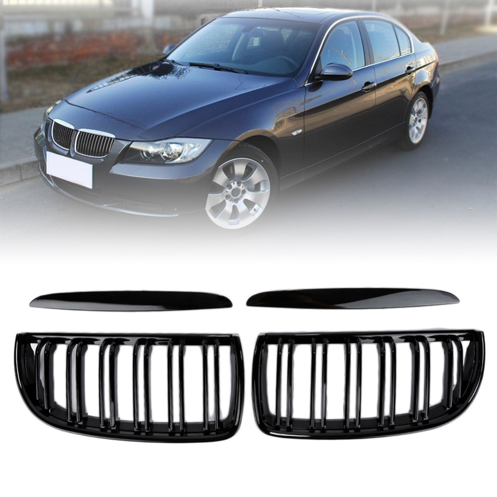 Liplasting 1 Pair Bright Black ABS Plastic Front Kidney Grille Grill for BMW 2005-2008 E90 320i 323i 328i 335i Sedan/Wagon f15 f16 kidney gloss black abs plastic original style front racing grill grille for 2014 2015 2016 bmw f16 x6 bmw f15 x5