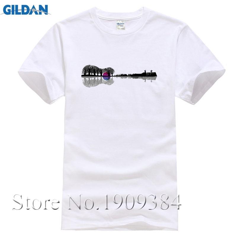 Design Men's T Shirt Music instrument tree silhouette guitar Print Short Sleeve Polyester Shirt Brand Clothing For Men Mesh Tops