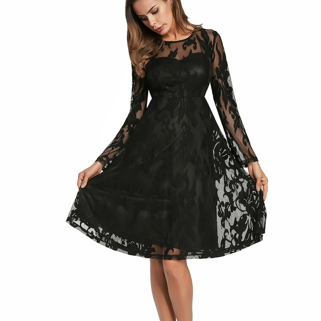 Black Lace Dress Plus Size Vintage Dress Women Sexy Party Dresses