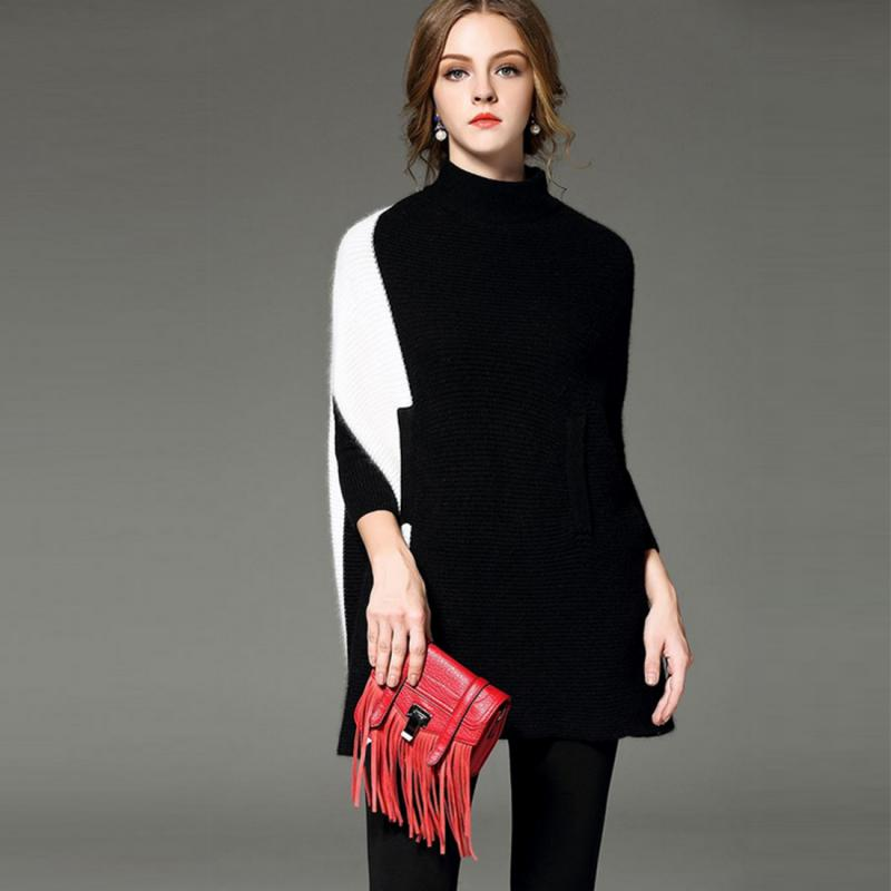 2016 Sweater Contrast Color Patchwork Pattern High Collar Fashion ...