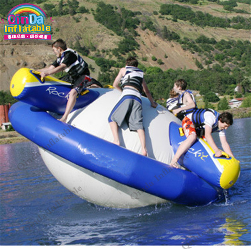 5M Giant Inflatable Water Gyroscope Inflatable Saturn Rocker  For Swimming Pool Or Water Park Spinner Toy environmentally friendly pvc inflatable shell water floating row of a variety of swimming pearl shell swimming ring
