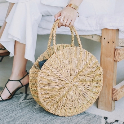Women Woven Round Rattan Straw Bag Bali Bohemian Beach Circle Handbag Summer Handmade Retro Knitted Gold silver Messenger Bags handbag