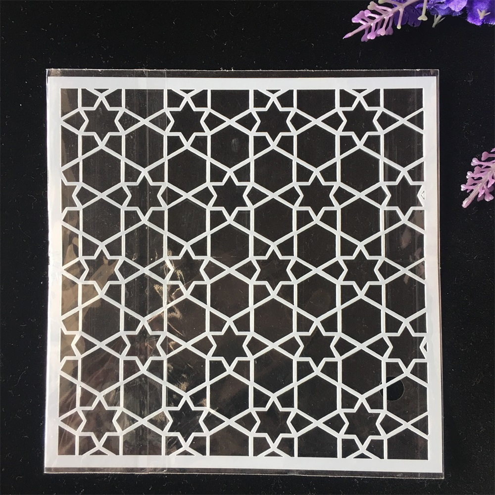 1Pcs 13cm Geometry Star DIY Craft Layering Stencils Wall Painting Scrapbooking Stamping Embossing Album Card Template
