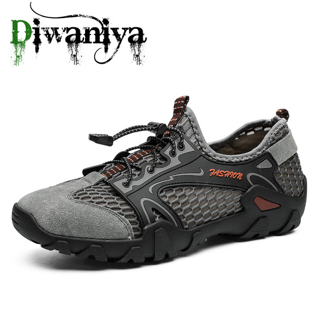 Mesh Breathable Men Hiking Shoes Non-Slip Climbing Mountain Amphibious Shoes Fishing Outdoor Sports Shoes Quick Dry Sneakers