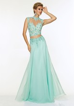 Gorgeous Two Piece Prom font b Dress b font 2015 Appliques and Beading High Neck Long