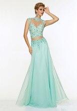 Wunderschöne Zweiteiler Prom Kleid 2015 Appliques und Perlen High Neck Lange Backless Chiffon Abendkleid abendkleider
