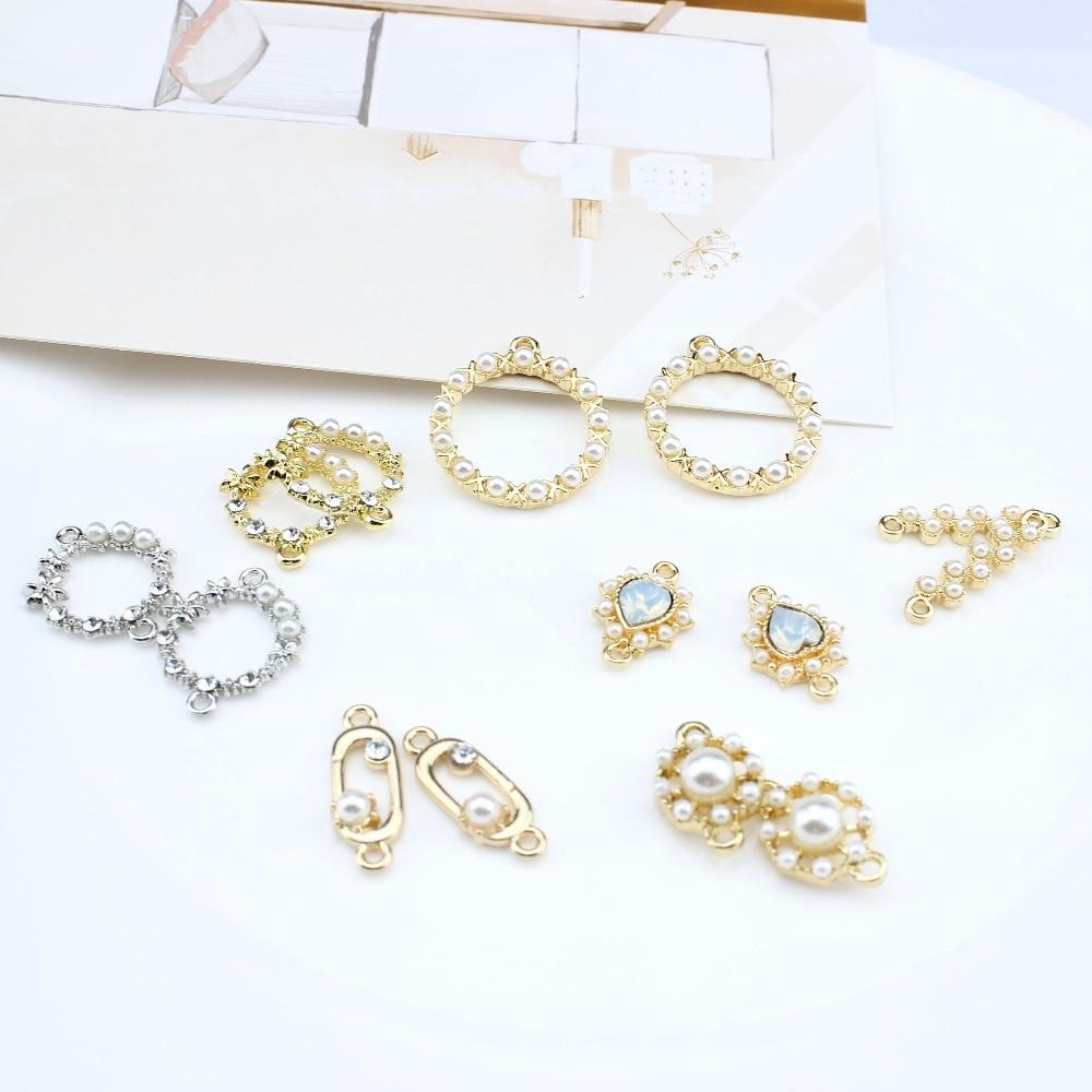 Coreano moda brincos de argola ganchos oco rodada variando pérola brincos para as mulheres jóias diy fazendo pulseira acessórios