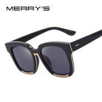 MERRY S Women Sunglasses Acetate Frame Unisex Sun Glasses Classic Flat Coating Lenses With Box S