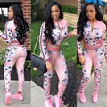 2017 New Autumn Fashion 2 Piece Set Women Sweatsuits Casual Printed Tracksuit Set Pink Long Sleeve Cropped Jacket and Long Pants