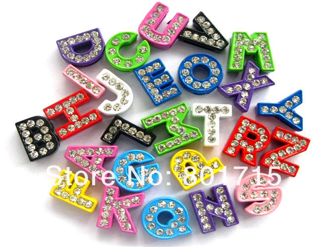 as gift wholesales 260pcs inner size 8mm colorful Painting zinc alloy and rhinestone DIY Slide letters