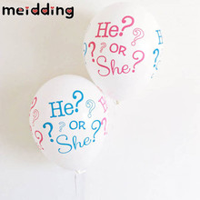 MEIDDING 10pcs He OR She Baby Balloon Gender Reveal Party White Balloon Baby Shower Wedding Decor Boy Birthday Party Supplies
