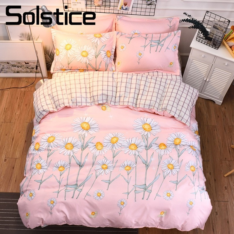 Solstice Home Textile King Twin Double Bedding Set Girl Pink Kid Teen Bedlinen Sun Flower Duvet Quilt Cover Pillowcase Bed Sheet