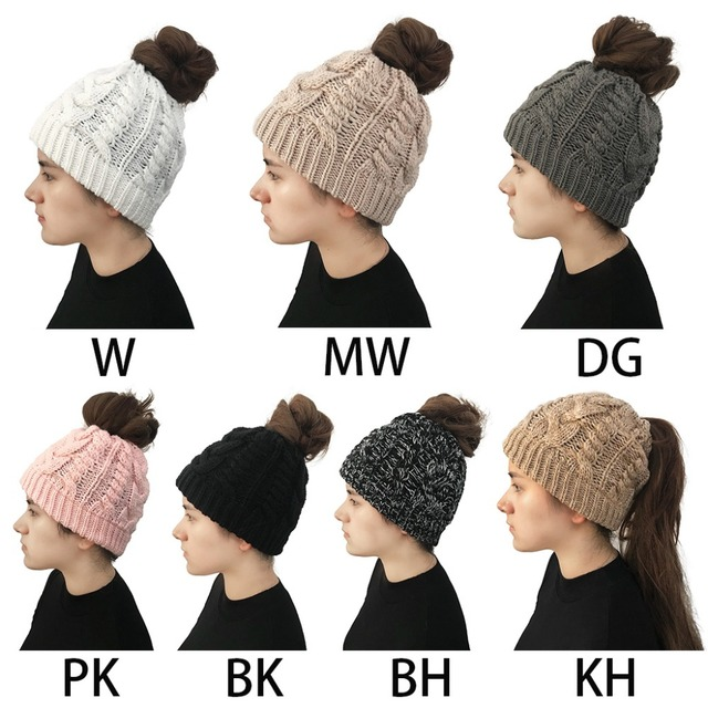 89ff85978 US $2.87 25% OFF|Women Girls Winter Braided Knitted Ponytail Messy Bun  Beanie Hat Solid Color Chunky Thread Crochet Cap Stretchy Holey Ear  Warmer-in ...