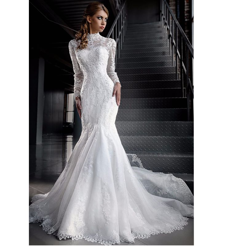 Cheap White Ivory Wedding Dresses Mermaid Lace Appliques: Robe De Mariage 2017 Custom Made White/Ivory Tulle