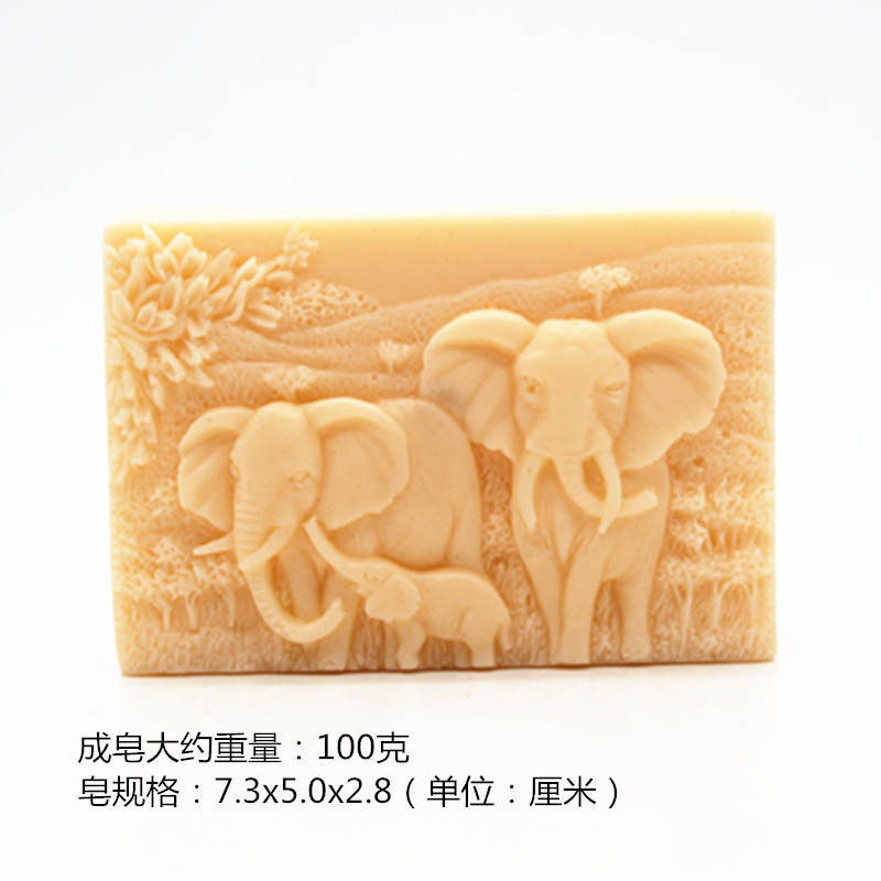 Wholesale DIY Craft Handmade Soap Mould Soap Making Mold Food Grade Silicone African Elephant Pattern Square Shape