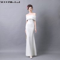 SOCCI Weekend White Mermaid Evening Dress 2017 Off The Shoulder Formal Wedding Party Dresses Prom Gowns