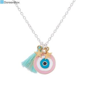 Doreen Box Handmade Bohemia Turkey eye of evil Pendants Necklace Mint Green Tassel Gold Star Fashion Jewelry 44.5cm 1 Piece(China)
