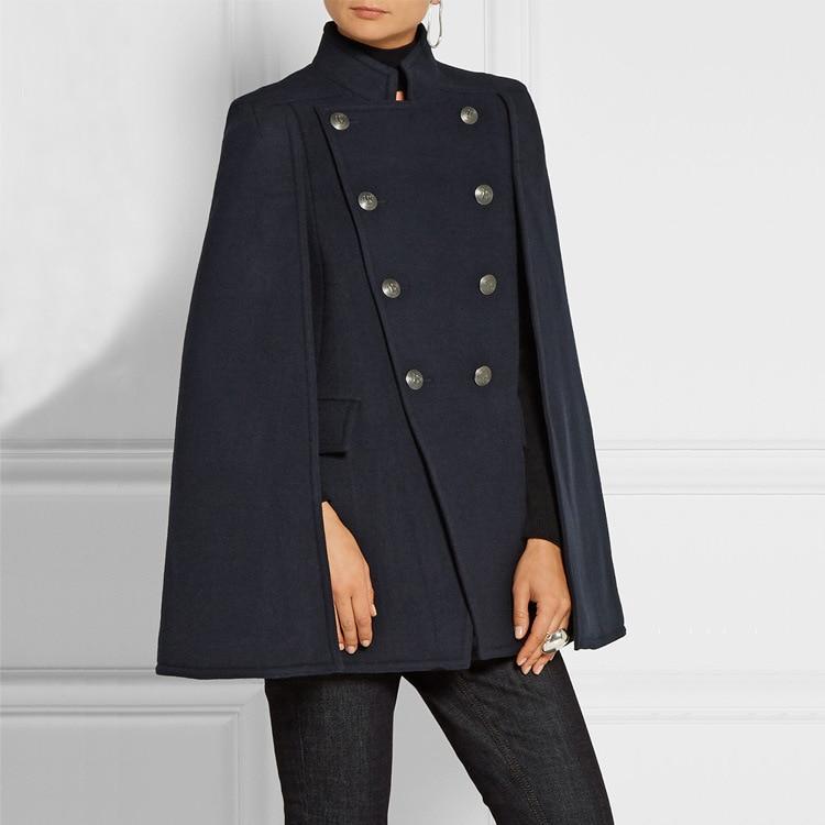 Moyen Dark 2018 À Blue Outwear Automne Cape Laine Boutonnage Femelle Uniforme Nouvelle Mode Armée allumette Tout long Double Hiver Pardessus Femmes zOHxrwz