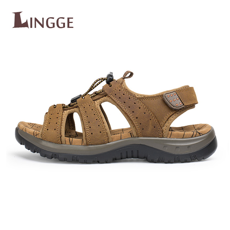 2018 Classics Summer Men Sandals High Quality Genuine Leather Men Beach Sandals Soft Breathable Fisherman Casual Beach Shoes