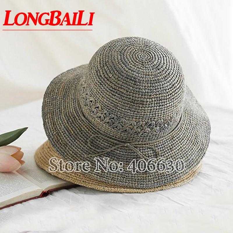 Summer Casual Women Raffia Straw Sun Beach Hat Female Foldable Wide Brim Bucket Caps Free Shipping SWDS015 in Women 39 s Sun Hats from Apparel Accessories