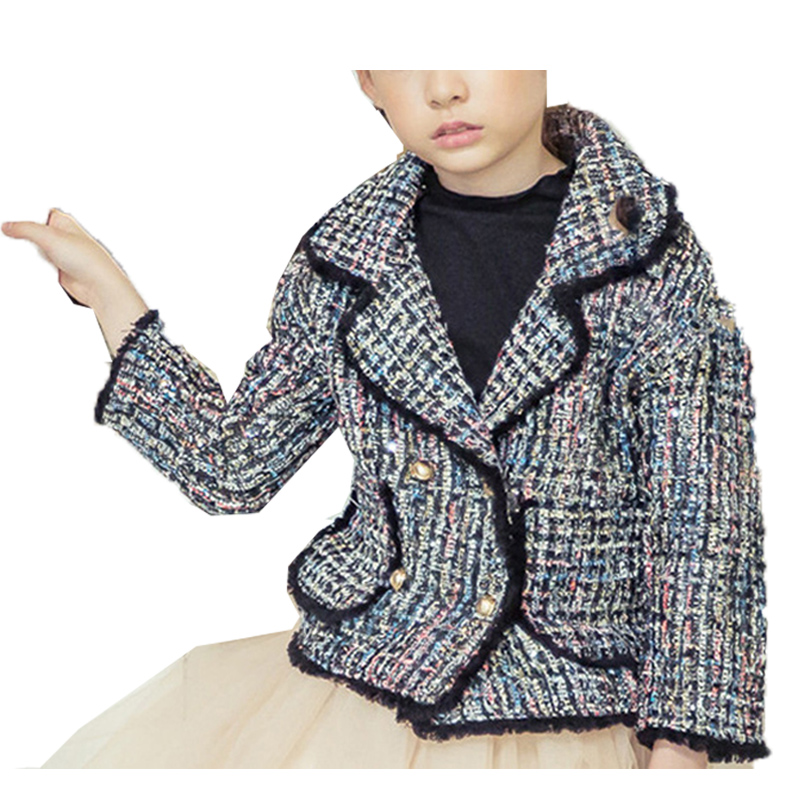 ФОТО 2017 Spring New Children's Clothing Girls Jackets Short Double-breasted Coats Suit Collar Knitted Circle Velvet Outwear Autumn