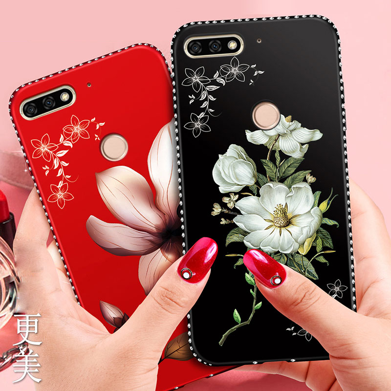 Bling Flower Silicone Cover <font><b>Case</b></font> For <font><b>Huawei</b></font> Honor 8A 8C 8X 7C 7A Pro 9 10 P20 P30 Lite P Smart Plus Y5 Y6 Y9 2018 <font><b>Y7</b></font> Prmie <font><b>2019</b></font> image