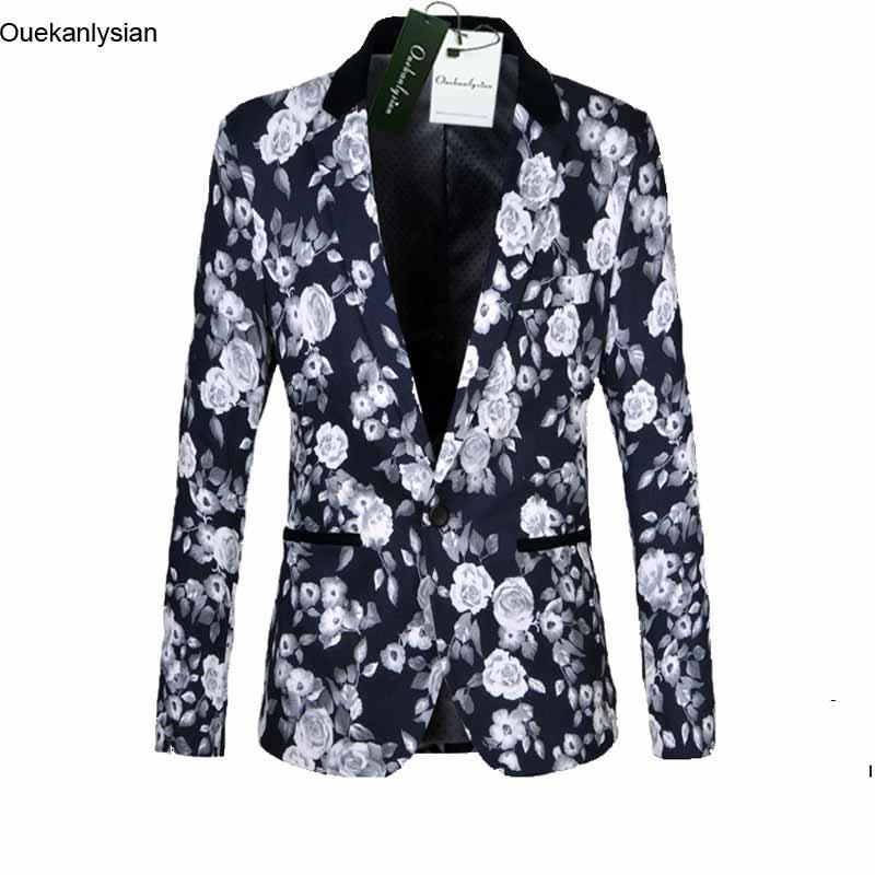 ouekanlysian spring floral blazer men slim fit suit jacket. Black Bedroom Furniture Sets. Home Design Ideas