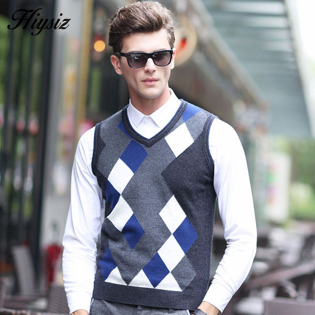 a584eee531e57 2016 Autumn Winter Knitted Merino Cashmere Woolen Vest Men V-neck Sleeveless  Sweater Men Fashion Gentleman Argyle Plus Size 6309