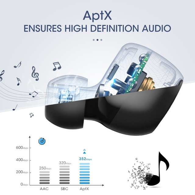 Waterproof Wireless Bluetooth 5.0 Earbuds Support Aptx 36h Playing Time