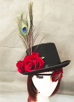 Latest Popular Red Peacock Feather Rose Flower Steampunk Top Hat Handmade Vintage Hats With Eye Patch Blinder