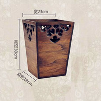 2017 New Creative Vintage High Grade Square Paper Basket Wood Trash Cans Made In Thailand