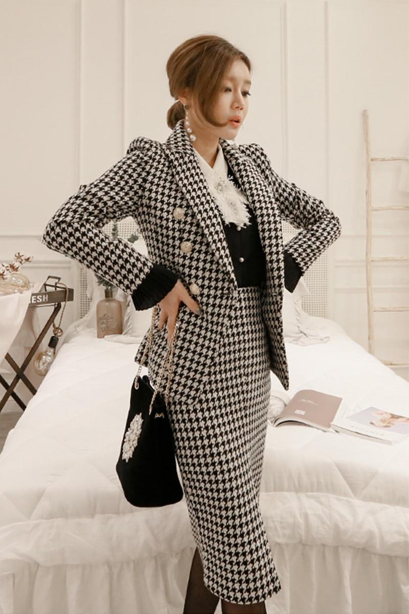 Turn Manteau Robes Costumes 2018 2 Fendue Pièce Down Noir Crayon Plaid Femmes Tweed Blanc Blazer Hiver Col Mode Ensemble Automne w1qSvB