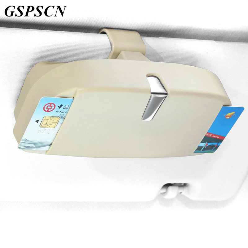 GSPSCN Multifunction Car Sun Visor Glasses Box Sunglasses with Ticket Receipt Clip Storage Holder Glasses and Cards Car Holde auto trinket leather car sun visor sunglasses spectacles ticket receipt card clip storage holder for cars car styling au 08