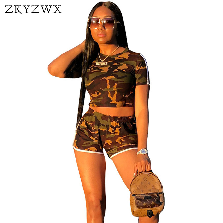 ZKYZWX Camouflage Two Piece Set Sweatsuit Side Steiped Tops And Shorts Summer Outfits Suit Tracksuit Sexy 2 Piece Sets Women
