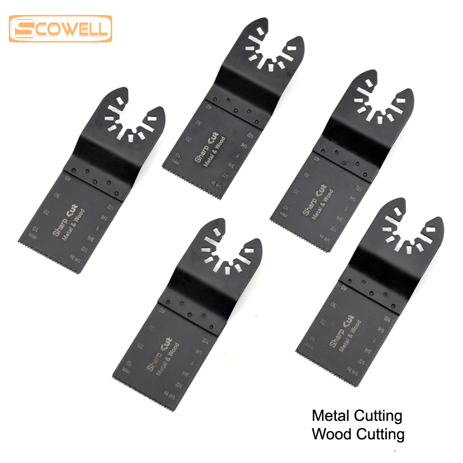 30% Off 5pcs HSS Bi-metal 34mm Universal Oscillating Tools Saw Blades Accessories Fit For Multimaster Power Tools Jigsaw Blades