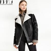 2017 Nieuwe Mode Vrouwen Basic Jassen Jas Winter Lam Haar Verdikking Jassen Jassen Zwart Motorfiets Kleding Jas Plus Size