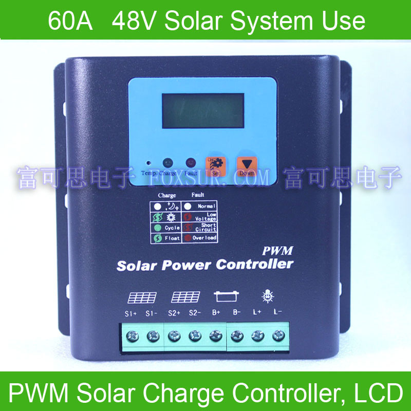 60A 48V PWM Solar Charge Controller, with LCD display battery voltage and capacity, HiQu ...