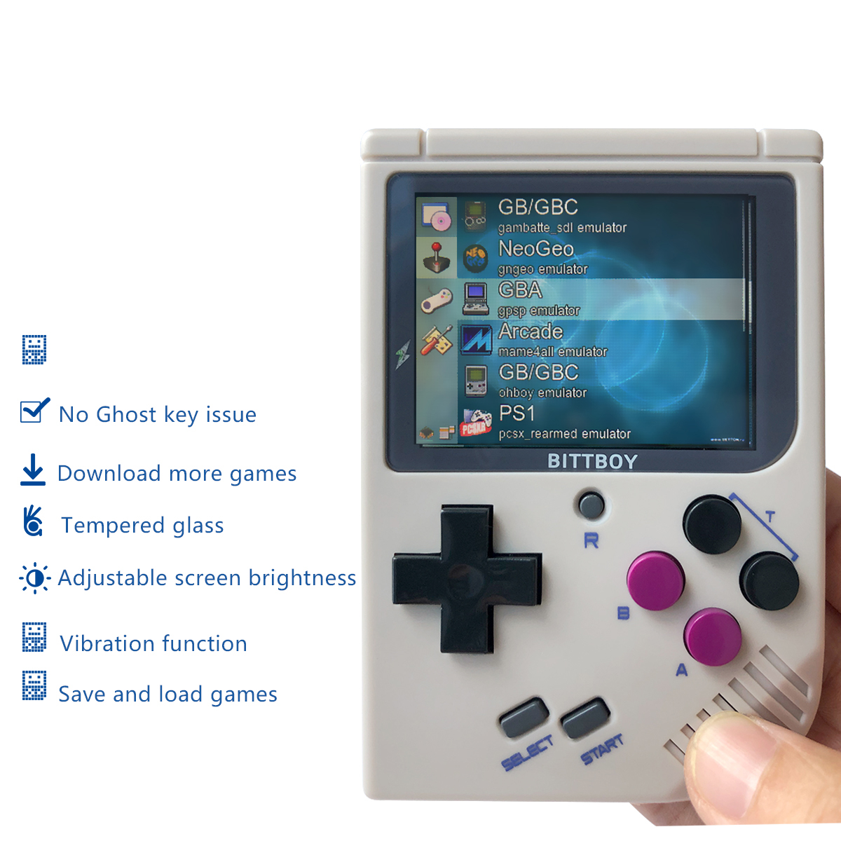 Console de jeu vidéo, BittBoy V3 + 8 GB, console rétro, joueurs de jeu portables, supporte des jeux plus classiques pour les enfants nostalgiques joueur - 4