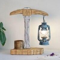 Средиземноморский ручной работы голубой деревянный Стекло E27 настольная лампа Фонари свет для бар ресторан Гостиная деко см х 50 см 2168