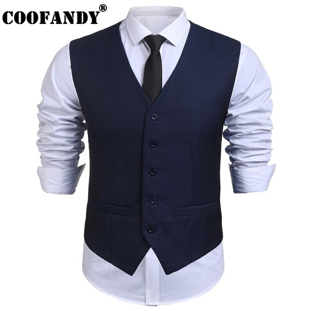 dc19f58e82dbb7 COOFANDY New Arrivals Men V-Neck Sleeveless Casual Slim Fit Skinny Dress  Vest Waistcoat Free Shipping