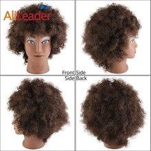 AliLeader Großhandel Günstige Mannequin Kopf Mit Afro Menschliches Haar Silikon Männlichen Verworrene Lockige Haar Puppe Kopf Für Kurze Haare Styling