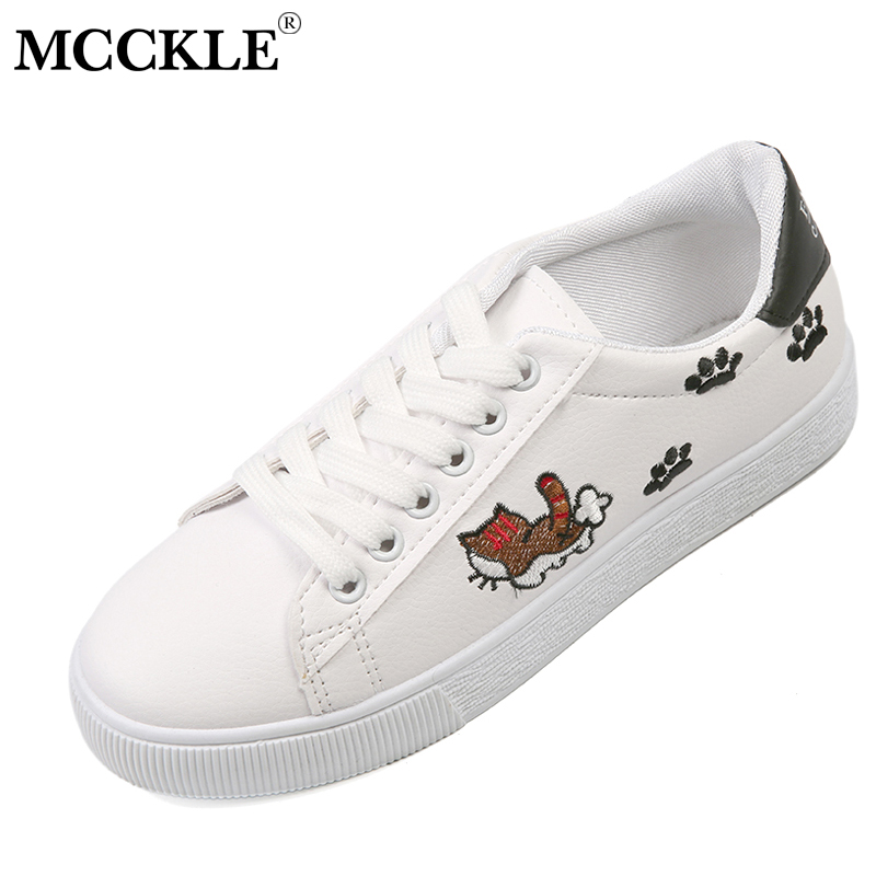 MCCKLE Lace Up Women Flats 2018 Spring Casual Zapatos Mujer Cat Printing Female Footwear Sewing Platform Woman Shoes Ladies instantarts schnauzer pattern women lace up flat shoes summer spring sneaker shoes for girls female zapatos mujer casual flats
