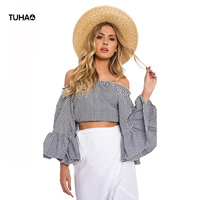 TUHAO Summer Blouse Women Slash Neck Flare Sleeve Short Plaid Blusa Female Off The Shoulder Open