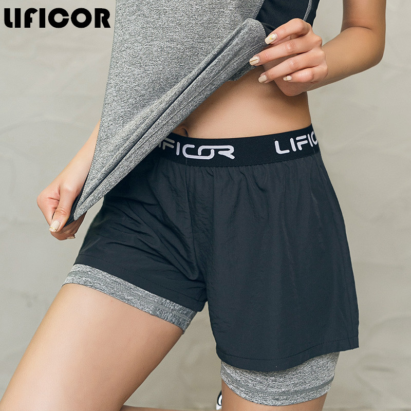 High quality 2 In 1 Sport Fitness Running Yoga Shorts Women Athletic Shorts  Cool Ladies Running Shorts Fitness Workout Clothes 454f01381a