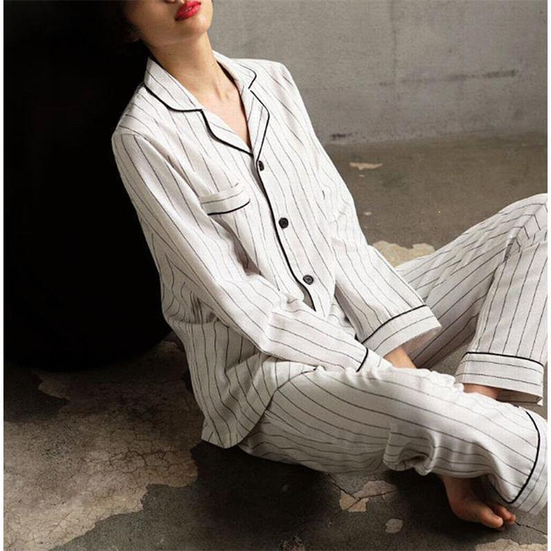 QWEEK 2019 Autumn Student Style Long Sleeve Night Suit For Women Cardigan Pajama Stripes Sleepwear Women Plus Size Nightwear