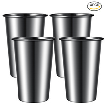 Uarter 4PCS 350ML Outdoor Camping Pint Cup Unbreakable Beer Cups Set Stackable Water Tumblers for Home